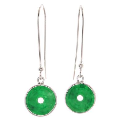 Jade dangle earrings, 'Green Rings' - Circular Jade Dangle Earrings Crafted in Thailand