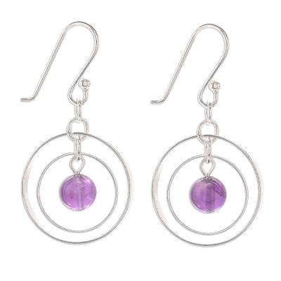 Circular Amethyst Dangle Earrings Crafted in Thailand