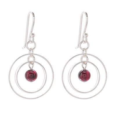 Circular Garnet Dangle Earrings Crafted in Thailand