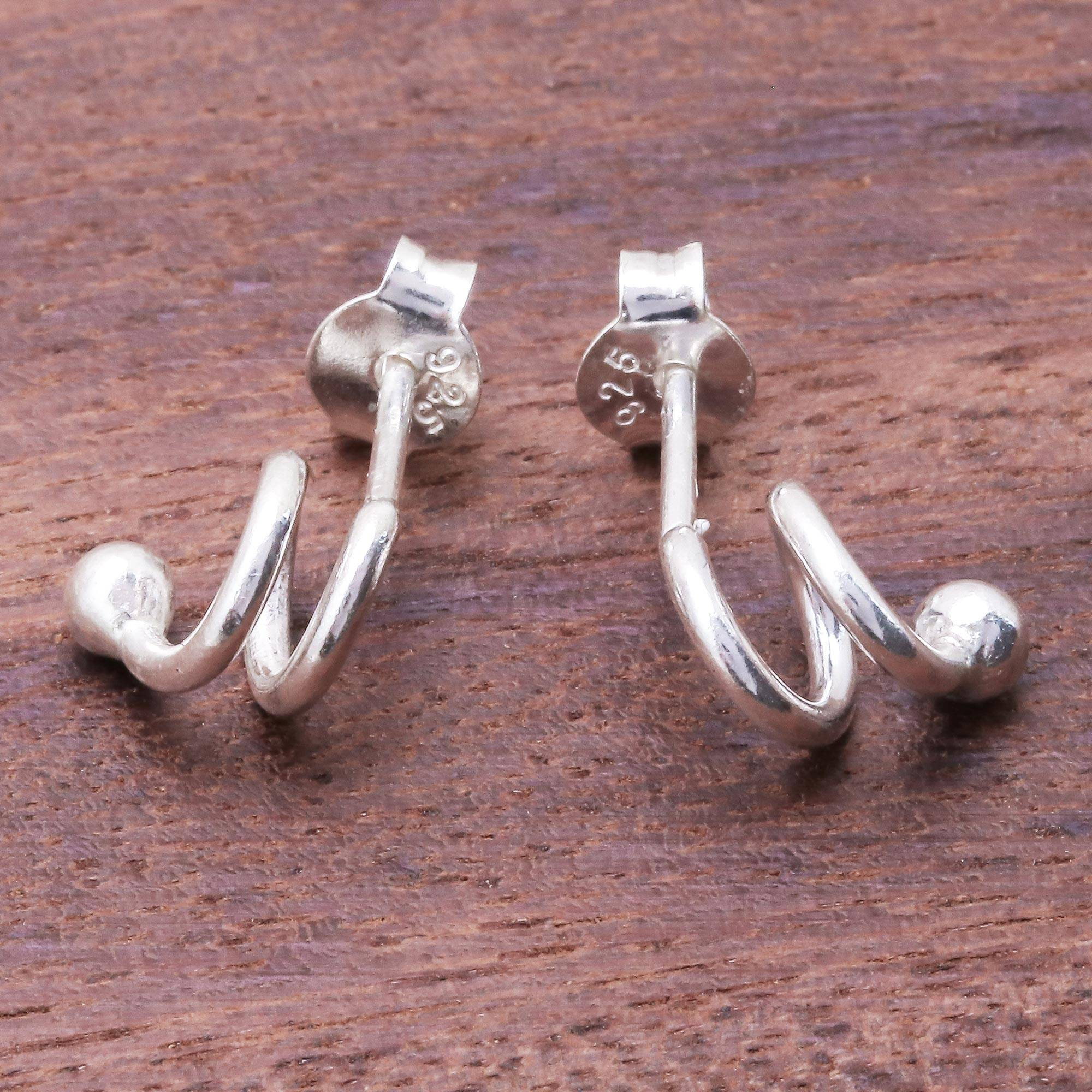 Sterling Silver Swirl Post Earrings 0.2 in x 0.2 in