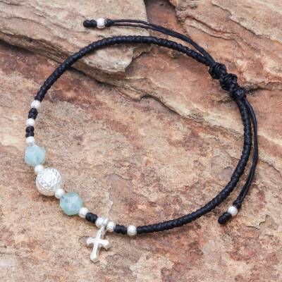 Amazonite beaded bracelet, 'Disco Faith' - Adjustable Amazonite Beaded Bracelet from Thailand