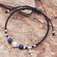 Lapis lazuli beaded bracelet, 'Joyful Faith'