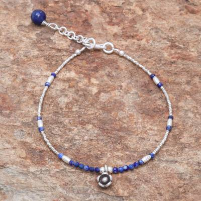 Lapis lazuli beaded bracelet, Lovely Bloom
