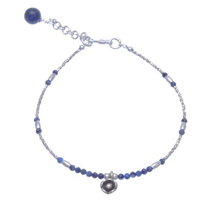 Floral Lapis Lazuli Beaded Bracelet from Thailand
