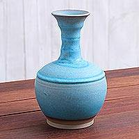 Ceramic vase, 'Sky Flute' - Fluted Ceramic Vase in Blue from Thailand