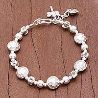 Silver beaded bracelet, 'In the Garden'