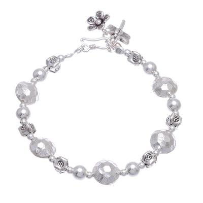Silver beaded bracelet, 'In the Garden' - Karen Silver Beaded Bracelet Crafted in Thailand