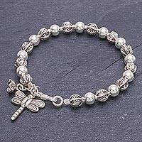 Silver beaded bracelet, 'Flower Dragonfly' - Dragonfly-Themed Silver Beaded Bracelet from Thailand