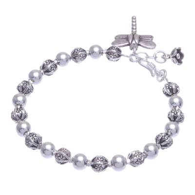 Silver beaded bracelet, 'Flower Dragonfly' - Dragonfly-Themed Silver Beaded Bracelet from Thailand