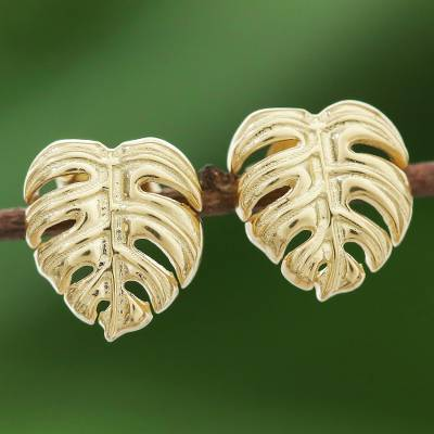 Gold plated sterling silver stud earrings, 'Tropical Leaf' - Handcrafted Thai 18k Gold Plated Leaf Stud Earrings