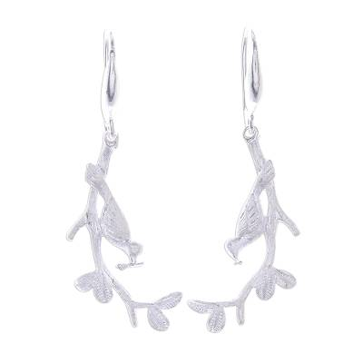 Bird-Themed Sterling Silver Dangle Earrings from Thailand