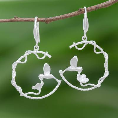 Sterling silver dangle earrings, 'Hummingbird Loops' - Hummingbird-Themed Sterling Silver Dangle Earrings