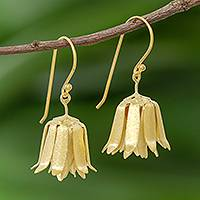 Gold plated sterling silver dangle earrings, 'Shy Lotus' - Handcrafted Thai Gold Plated Silver Floral  Earrings