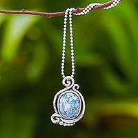 Roman glass pendant necklace, 'Oval Moon' - Oval Roman Glass Pendant Necklace from Thailand