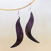 Leather dangle earrings, 'Lithe Leaves in Brown' - Wavy Leather Dangle Earrings in Brown from Thailand