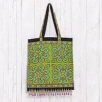 Cotton blend tote, 'Hmong Intricacy' - Hmong Cross-Stitched Cotton Blend Tote from Thailand