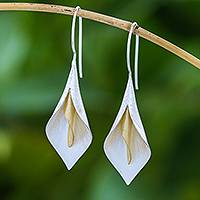 Gold accented drop earrings, 'Serene Lily' - Floral Theme Handmade Gold Accented Sterling Silver Earrings