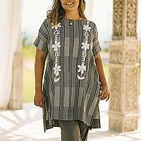 Cotton long length tunic, 'Floral Lattice' - Black and Alabaster Floral Cotton Long Length Tunic