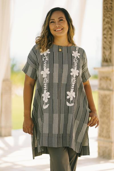 Cotton long length tunic, 'Floral Lattice' - Black and Alabaster Floral Cotton Long Length Tunic