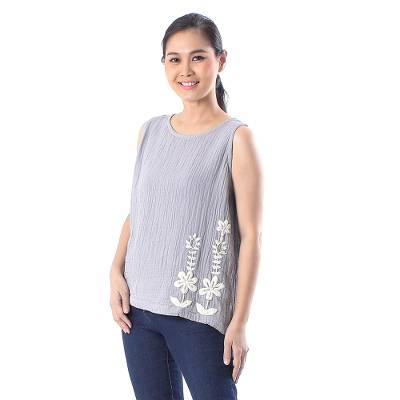 Cotton tank top, 'Flirty Bloom in Ash' - Floral Embroidered Cotton Tank Top in Ash from Thailand