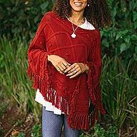 Cotton poncho, 'Charming Knit in Claret' - Short Knit Poncho in Claret from Thailand