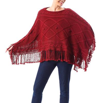 Short Knit Poncho in Claret from Thailand