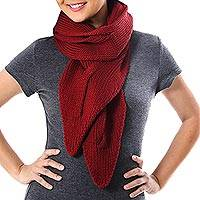 Cotton scarf, 'Ascot Charm in Claret' - Knit Cotton Wrap Scarf in Claret from Thailand