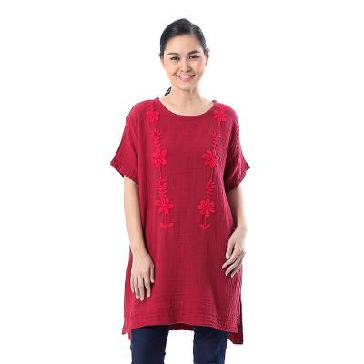 Cotton blouse, Crimson Bloom