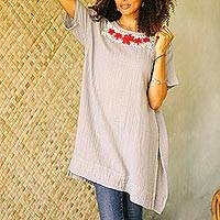 Cotton blouse, 'Posy Bliss in Ash'