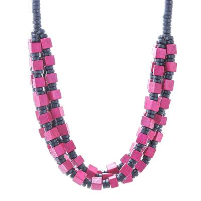 Wood beaded necklace, 'Pink Elegance Squared' - Pink and Black Boxwood Cube Beaded Torsade Necklace