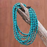 Wood beaded strand necklace, 'Cute Boho in Teal'