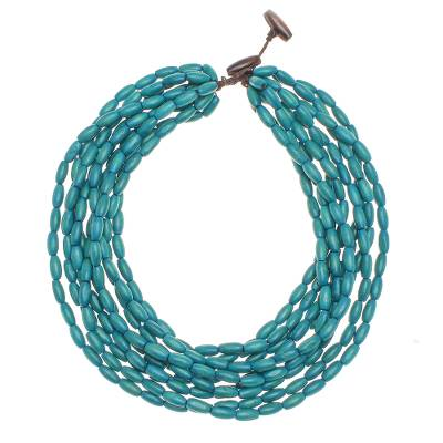 Wood beaded strand necklace, 'Cute Boho in Teal' - Wood Beaded Strand Necklace in Teal from Thailand