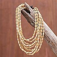 Wood beaded strand necklace, 'Cute Boho in Beige' - Wood Beaded Strand Necklace in Beige from Thailand