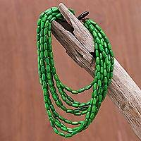 Wood beaded strand necklace, 'Cute Boho in Moss Green' - Wood Beaded Strand Necklace in Moss Green from Thailand
