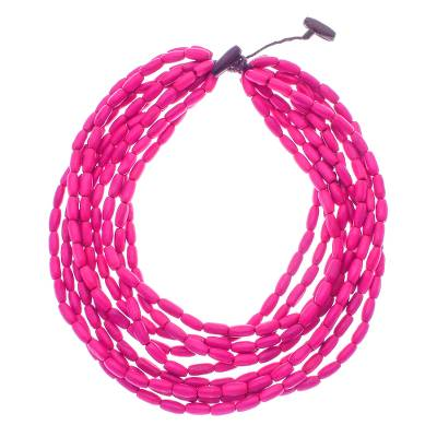Wood beaded strand necklace, 'Cute Boho in Fuchsia' - Wood Beaded Strand Necklace in Fuchsia from Thailand