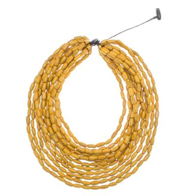 Wood beaded strand necklace, 'Cute Boho in Maize' - Wood Beaded Strand Necklace in Maize from Thailand