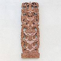 Wood relief panel, 'Angel Greeting' - Angel-Themed Teakwood Relief Panel from Thailand