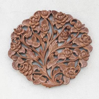 Teak wood relief panel, 'Rose Bouquet' - Rose Flower Teak Wood Relief Panel from Thailand
