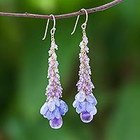 Gold accented amethyst and tanzanite cluster earrings, 'Delightful Cascade' - Gold Accented Amethyst and Tanzanite Cluster Earrings