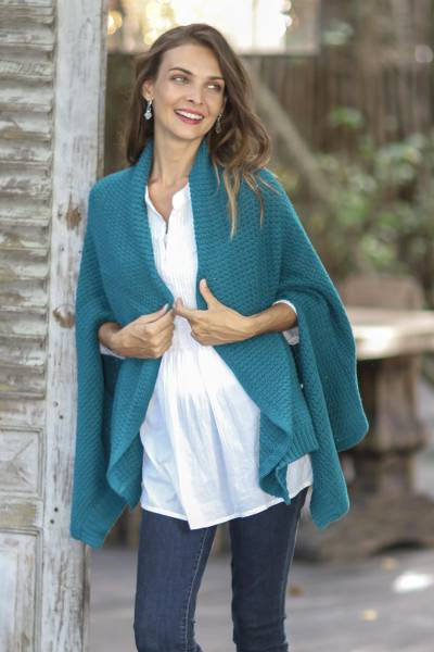 Cotton shawl, 'Chic Warmth in Teal' - Patterned Knit Cotton Shawl in Teal from Thailand