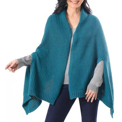 Patterned Knit Cotton Shawl in Teal from Thailand
