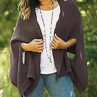 Cotton shawl, 'Chic Warmth in Espresso' - Patterned Knit Cotton Shawl in Espresso from Thailand