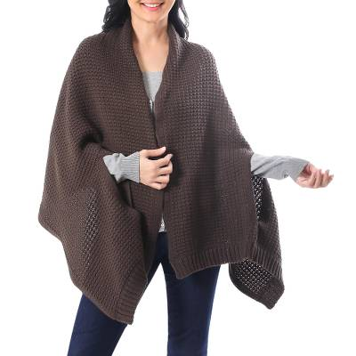 Patterned Knit Cotton Shawl in Espresso from Thailand