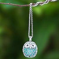 Sterling silver and onyx pendant necklace, 'Ringing Owl' - Owl-Themed Ringing Sterling Silver and Onyx Pendant Necklace
