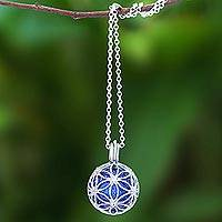 Sterling silver pendant necklace, 'Winter Orb' - Ringing Bell Sterling Silver Pendant Necklace in Blue