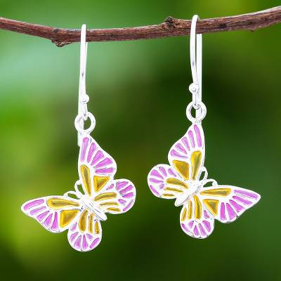 Sterling silver dangle earrings, 'Sweet Butterflies' - Pink and Yellow Sterling Silver Butterfly Dangle Earrings