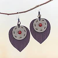 Carnelian and leather dangle earrings, 'Aurora Leaves' - Carnelian and Handcrafted Leather Dangle Earrings