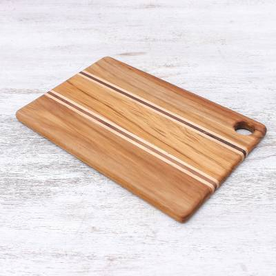 Teakwood cutting board, 'Stylish Chef' - Striped Teakwood Cutting Board Crafted in Thailand