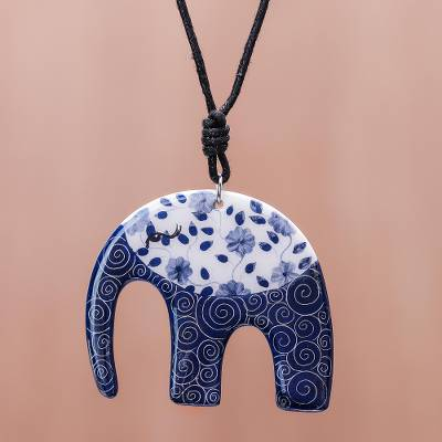 Ceramic pendant necklace, 'Dark Floral Elephant' - Blue and White Floral Elephant Ceramic Pendant Necklace