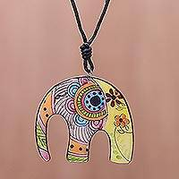 Ceramic pendant necklace, 'Elephant Hippie' - Bohemian Ceramic Elephant Pendant Necklace from Thailand